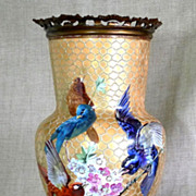 Exceptional Circa 1860 French Artist Signed Porcelain & Bronze Vase With Bird Motif