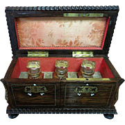 Ladys Circa 1860 French Rosewood Inlaid Boulle Perfume Casket