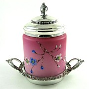 Circa 1880 Mount Washington Satin Glass Enamel Cracker Jar