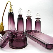 Magnificent 7 Piece Vintage Signed Moser Amethyst Dresser Set