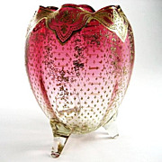 Circa 1880 Moser Cranberry Footed Vase