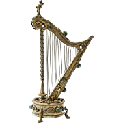 Antique Austrian Gilt Silver Jeweled Music Box In The Shape Of A Harp
