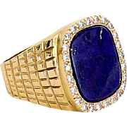 Vintage Gent�s 14K Lapis & Diamond Ring