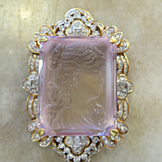 Magnificent 18K 5 Ct. Diamond Carved Kunzite Brooch