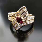 Lady�s Vintage 14K Ruby & Diamond Ring