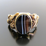 Gent�s Antique Art Nouveau 14K Agate Ring