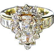 Lady�s 14K Vintage Brilliant Pear Shape Diamond Ring