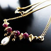 Lady�s Vintage 22K Ruby & Pearl Necklace