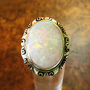 Exquisite Lady�s 14K Art Deco Fire Opal Enameled Ring