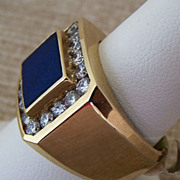 Gent�s Vintage 14K Lapis & Diamond Ring