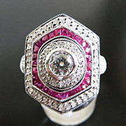 Magnificent Lady�s Platinum Diamond & Ruby Ring