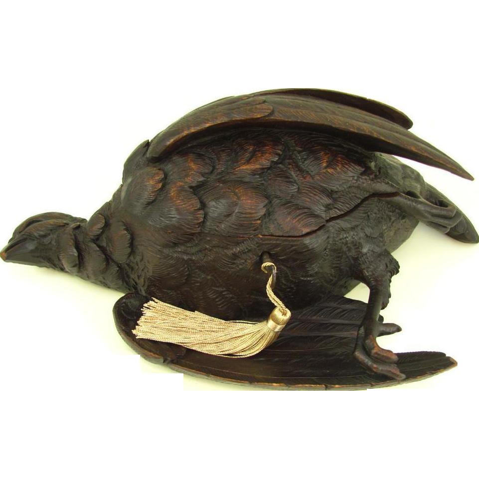 Large antique black forest carved wood hunting game bird
