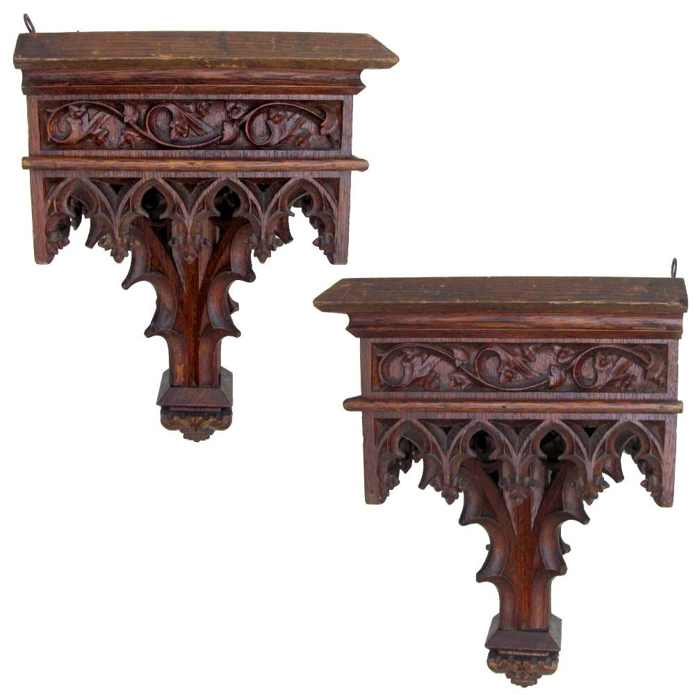 Large antique gothic hand carved wood reticulated wall