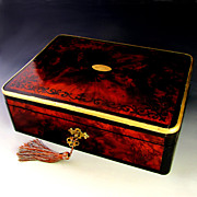 Antique English Burl Wood & Ebony Inlaid Jewelry Box, Spring Loaded Side Drawer