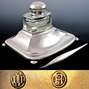 SOLD Rare Denmark Scandinavian Silver Inkwell & Dip Pen Set, Cut Crystal