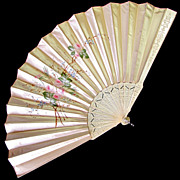 Large Antique French Silk Fan, Hand Painted Pink Roses