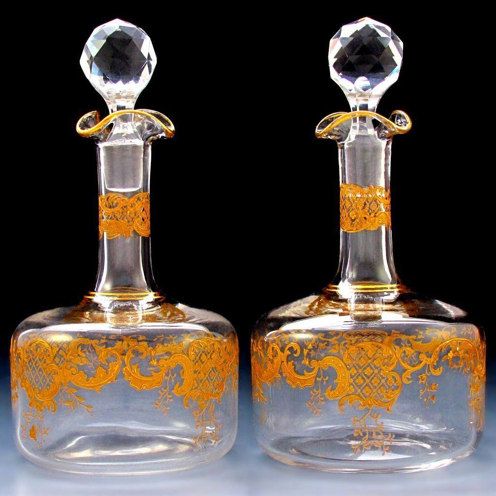 pair antique french saint louis crystal gilt decorated liquor decanters ebay. Black Bedroom Furniture Sets. Home Design Ideas