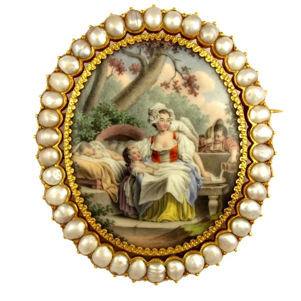 antique french 18k gold pearl brooch enamel miniature