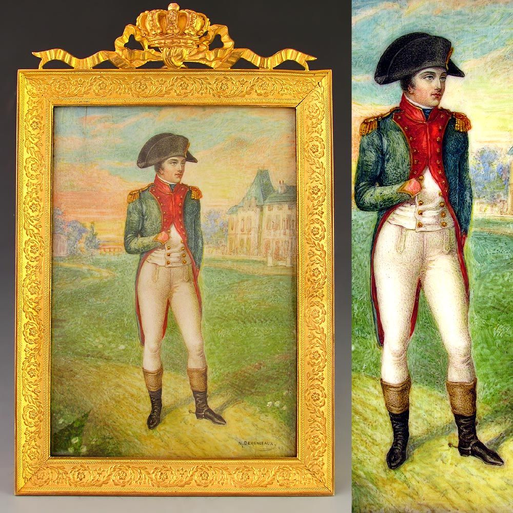 Antique French Hand Painted Miniature Portrait of Emperor Napoleon I, Ornate Crown Gilt Bronze Frame