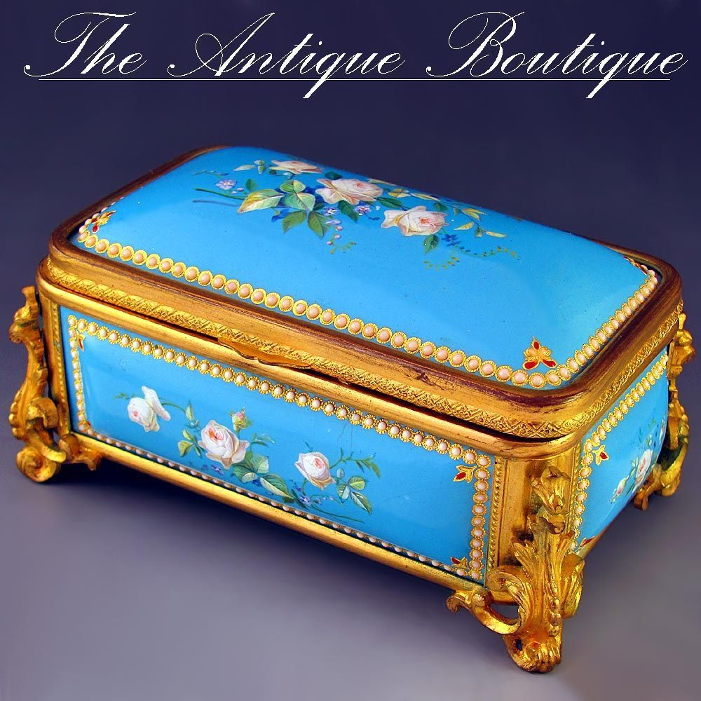 Antique French Napoleon III era Enamel on Copper & Gilt Bronze Jewelry Casket