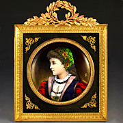 SOLD Antique French Limoges Enamel on Copper Miniature Portrait Plaque, Gilt Bronze Frame