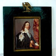 SOLD Splendid Antique 19c. Miniature Portrait Painting on Ivory in Wooden Frame King Charles I
