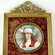 SOLD Antique French Limoges Enamel Portrait Miniature in Ornate Gilt Bronze Frame