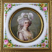 SOLD Rare Antique 19c Miniature Ivory Portrait & Porcelain Plaque Gilt Bronze Jewelry Casket /