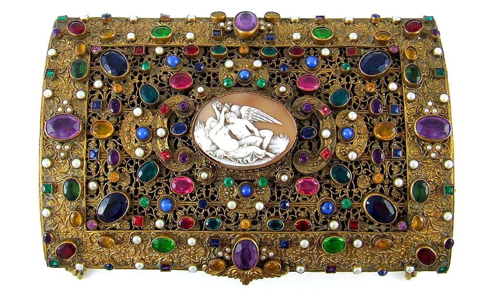 Boxed Antique Austrian Jeweled Amp Shell Cameo Ormolu Casket