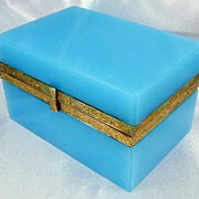 SOLD Charming French Blue Opaline Glass & Gilt Metal Jewelry Box / Casket
