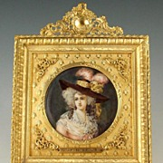 SOLD Antique French Miniature Ivory Portrait Gilt Bronze Frame Miss Halett