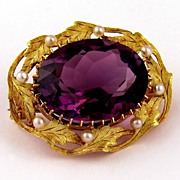 SALE Antique 14k Gold Amethyst & Seed Pearl Brooch / Pin