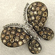 Stunning 14K Gold, DIAMOND Covered Butterfly Brooch / Pendant