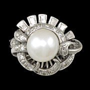 SALE Stunning 14k White Gold Diamond & Cultured Pearl Cocktail Ring