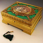 SOLD Fine Antique French Enamel & Gilt Bronze Jewelry Casket, Signed Miniature Portrait