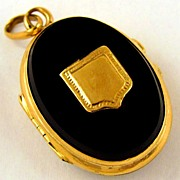 Stunning Antique 22K Gold Onyx Hinged Locket Pendant Shield Cartouche