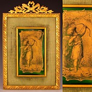 SOLD Antique French Limoges Enamel Signed & Dated Miniature Portrait Plaque, Cherub & Hearts,