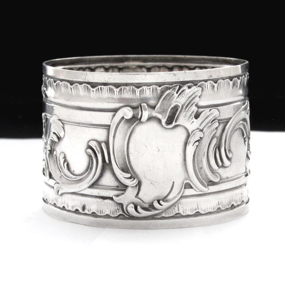 Ornate Antique French Sterling Silver Repousse Napkin Ring, Silversmith Henri Soufflot