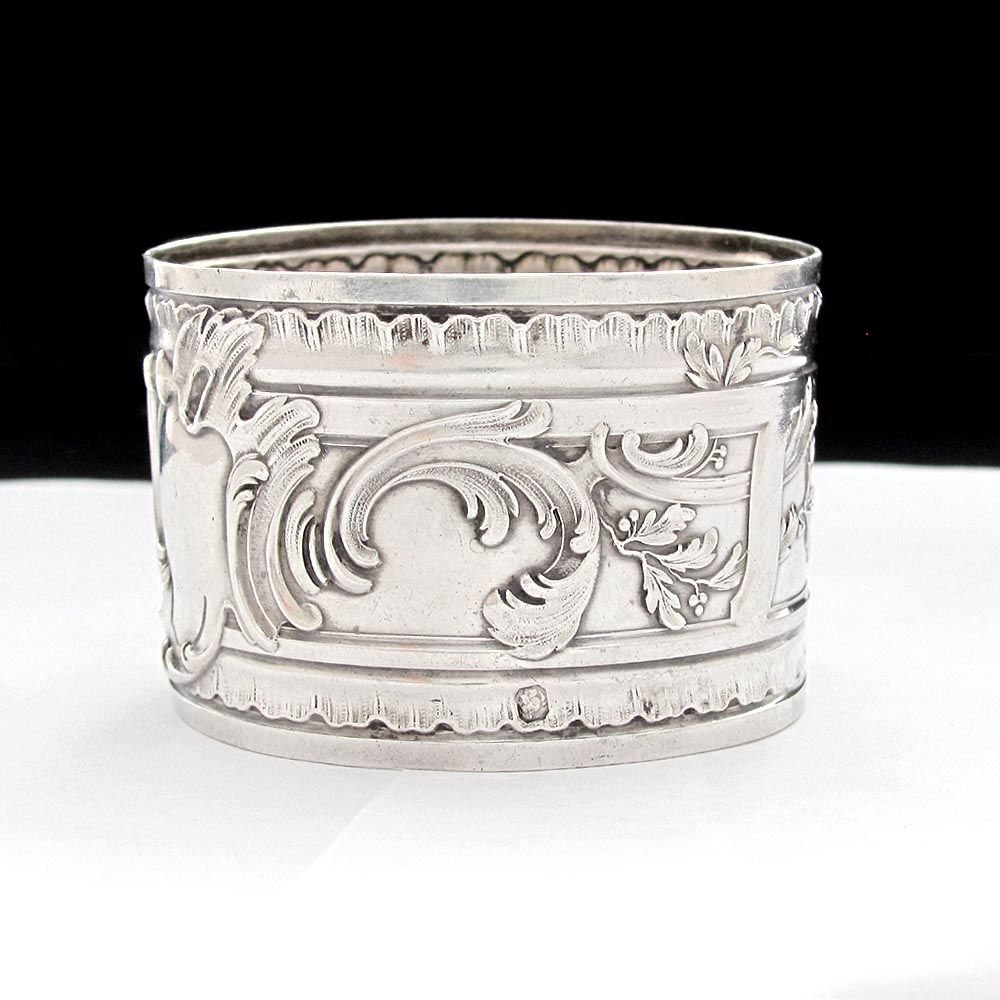 ornate antique sterling silver repousse napkin ring