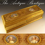 "SOLD Large 13"" Antique French Bronze Double Portrait Jewelry Casket"
