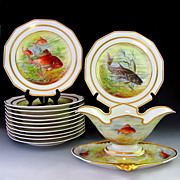 13pc Art Deco French Limoges Porcelain Fish Serving Set, Plates & Sauce Boat