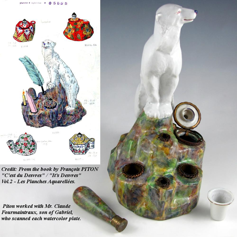Art deco french gabriel fourmaintraux desvres faience figural polar bear inkw - Boutique deco vintage ...