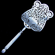 SALE Ornate Antique French Sterling Silver 950 Minerve Handled Asparagus Server