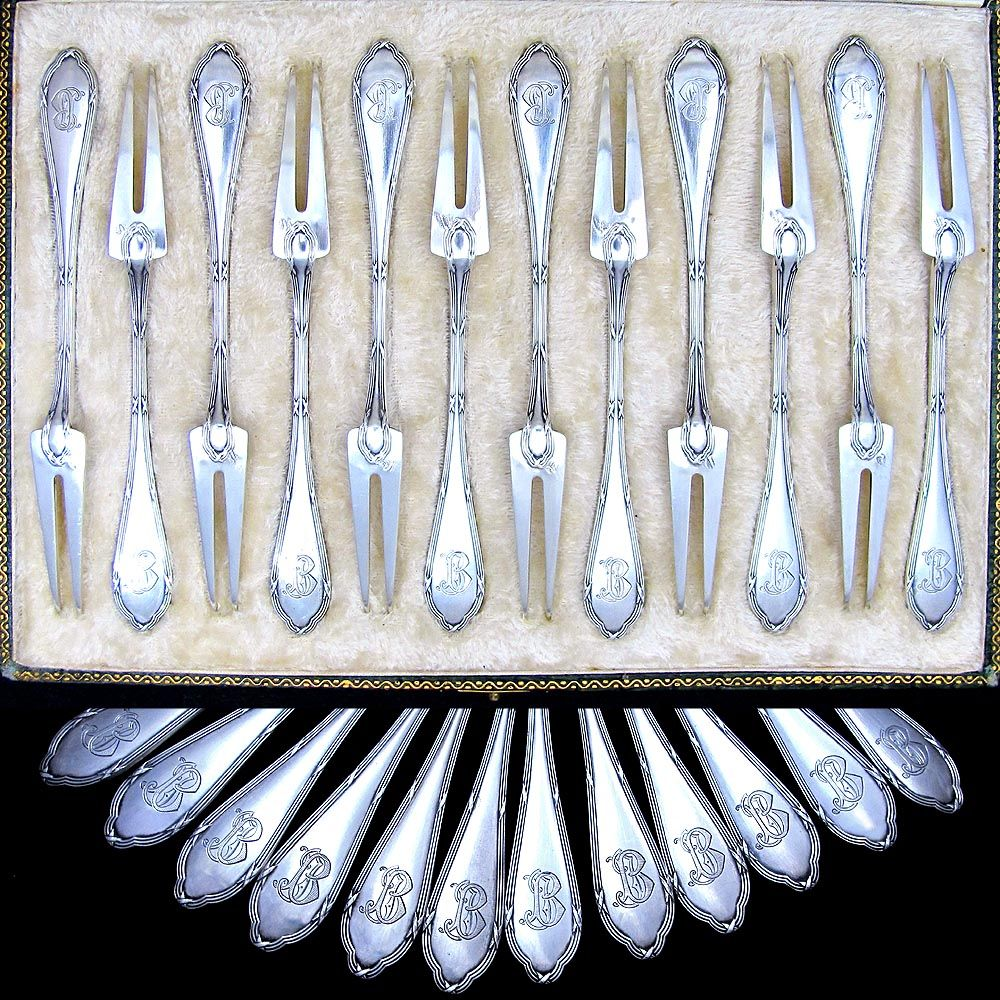 12 antique french sterling silver 950 shellfish escargot forks set service boxed ebay. Black Bedroom Furniture Sets. Home Design Ideas