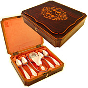 Antique 15pc Dutch Hallmarked .833 Silver Tea Serving Set, Marquetry Inlaid Box