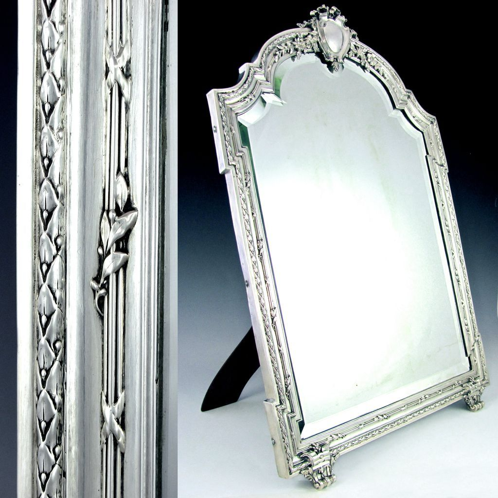 Large antique french sterling silver mirror beveled glass