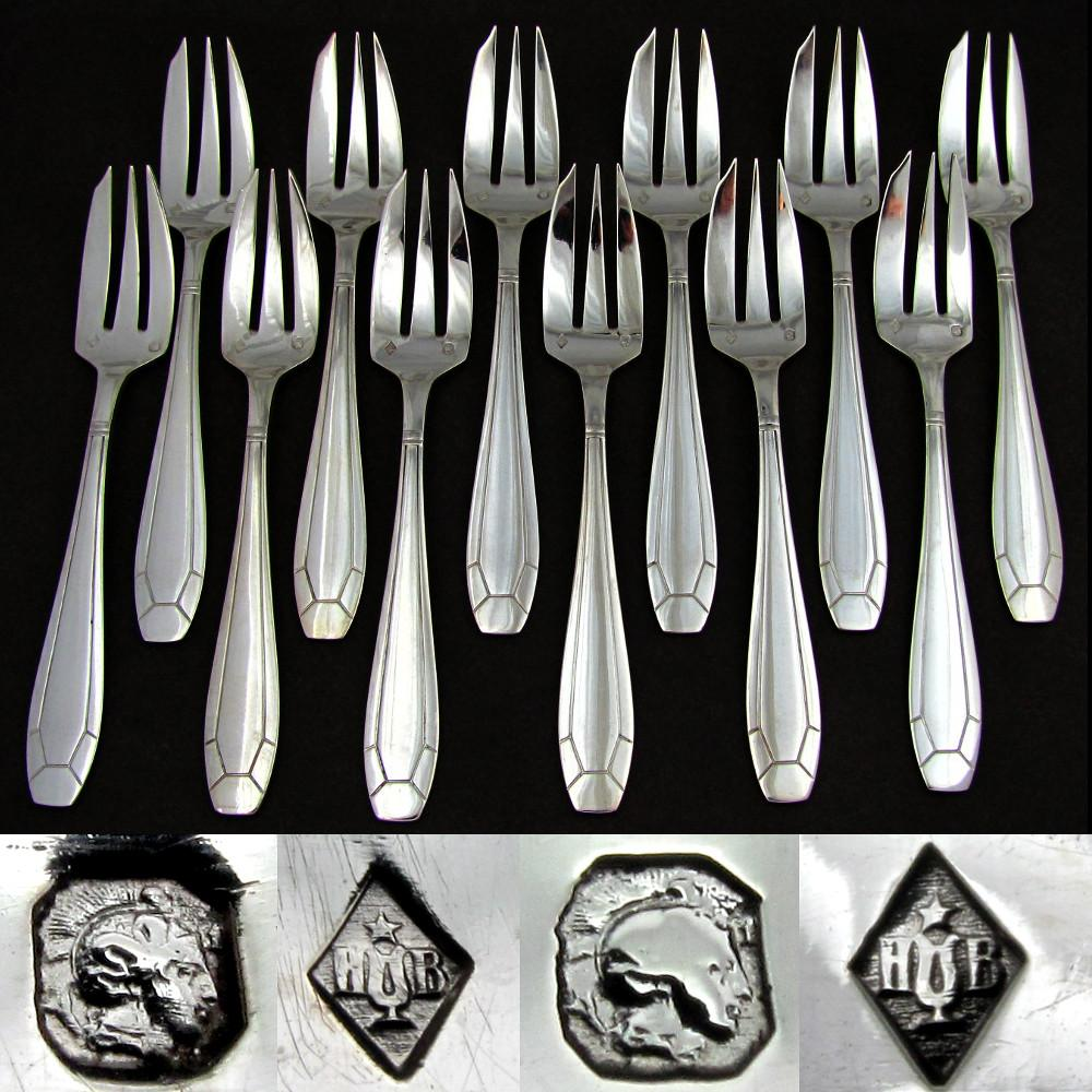 12pc ART DECO French Sterling Silver .950 Cake / Dessert ...