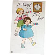 Children: A Happy New Year Postcard 1918 - Marked