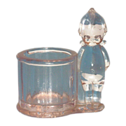 SALE Clear Glass Kewpie Candy Holder/Container - Marked