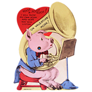 SALE Vintage Mechanical Pig & Tuba Valentine - Marked